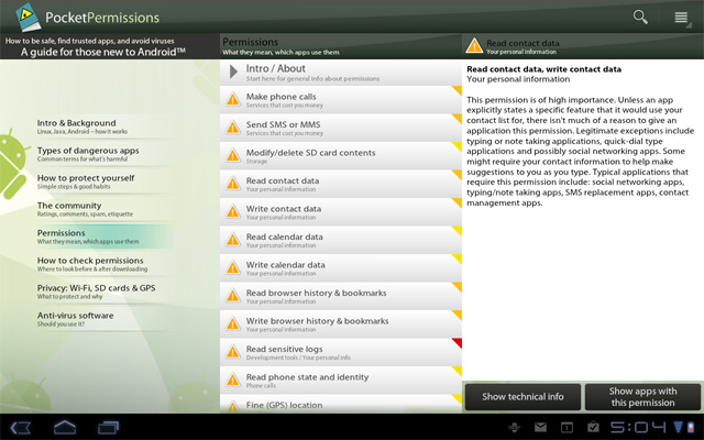 PocketPermissions Honeycomb Preview